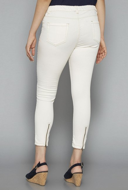 Gia by Westside Off White Solid Jeggings