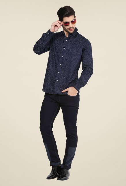 Yepme Navy Steve Printed Party Shirt