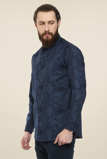 Yepme Navy Rodrix Printed Party Shirt