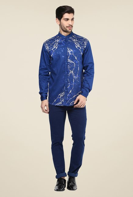 Yepme Dark Blue Axwell Printed Party Shirt