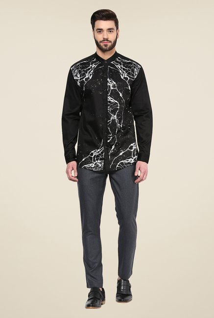 Yepme Black Duke Printed Cotton Party Shirt
