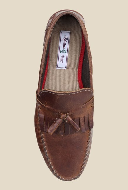 Red Tape Brown Leather Moccasins