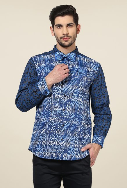 Yepme Blue Davin Printed Cotton Party Shirt