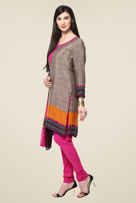 Yepme Hyna Grey & Pink Salwar Suit Set