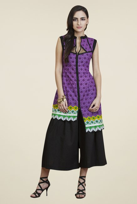 Yepme Purple & Black Carol Kurti Set