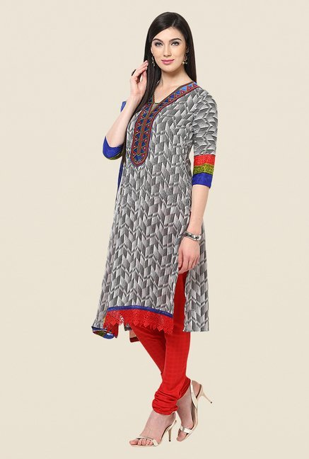 Yepme Grey & Red Patsy Salwar Kameez Set