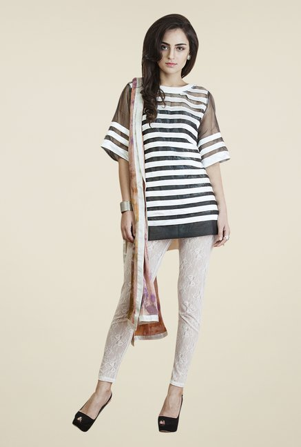 Yepme White & Black Adele Kurti Set