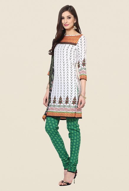 Yepme White & Green Priska Salwar Suit Set