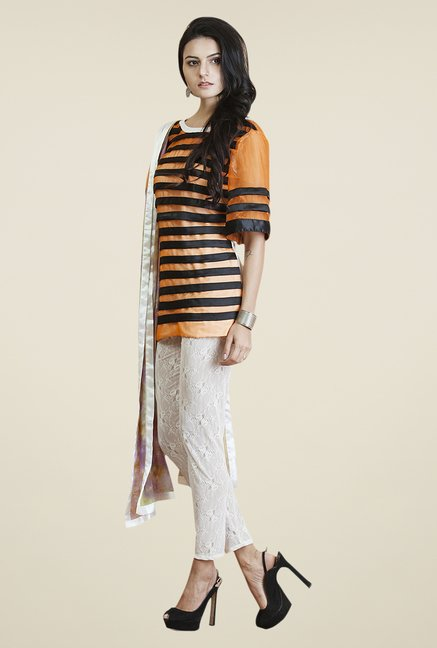 Yepme Orange & White Adele Kurti Set