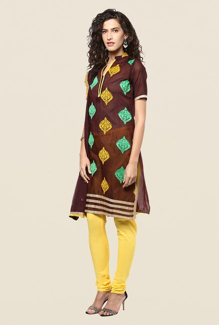 Yepme Opelia Brown & Yellow Salwar Suit Set
