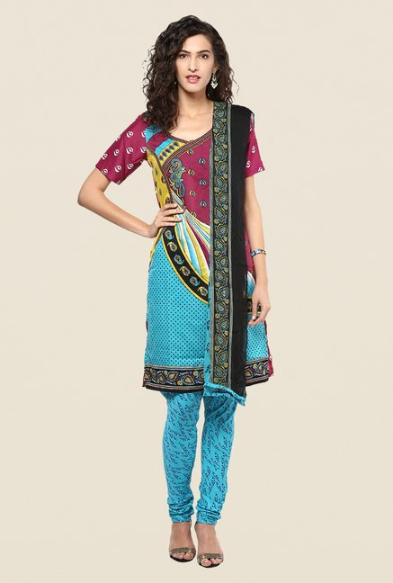 Yepme Priska Wine & Blue Salwar Suit Set