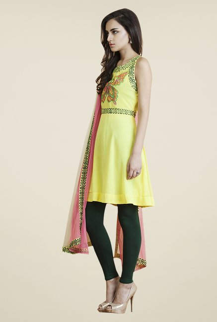 Yepme Yellow & Green Tisca Kurti Set