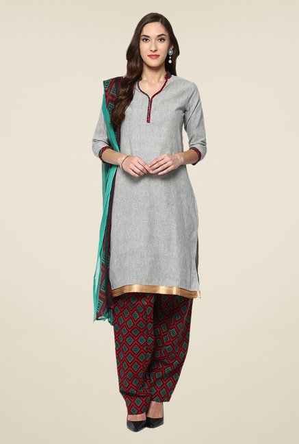 Yepme Terri Grey & Rust Salwar Suit Set