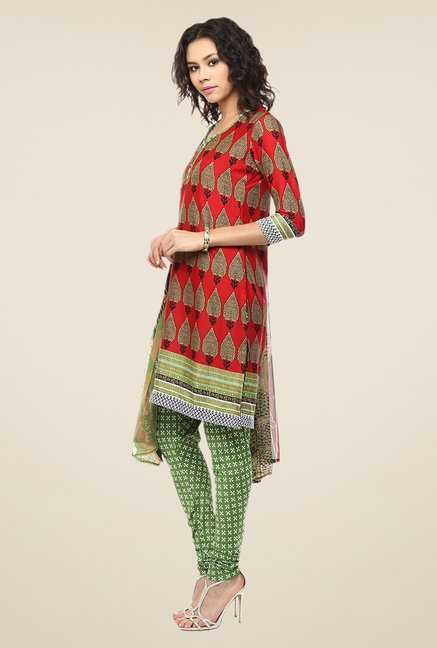 Yepme Priska Red & Green Salwar Suit Set