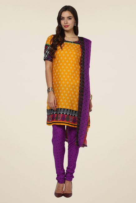 Yepme Yellow & Purple Priska Salwar Suit Set