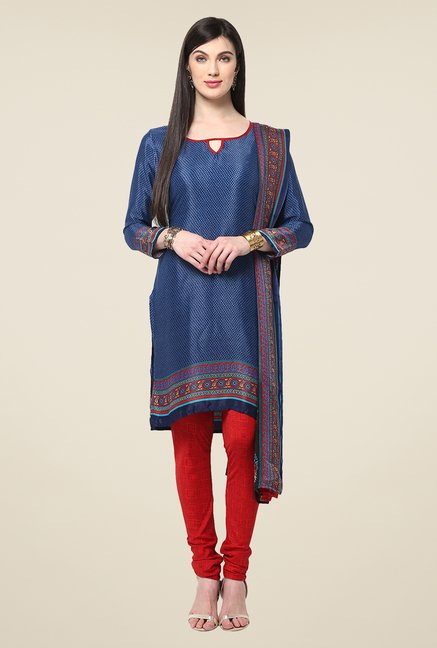 Yepme Hyna Blue & Red Salwar Suit Set
