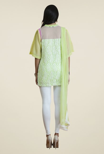 Yepme Medusa Green & White Salwar Suit Set