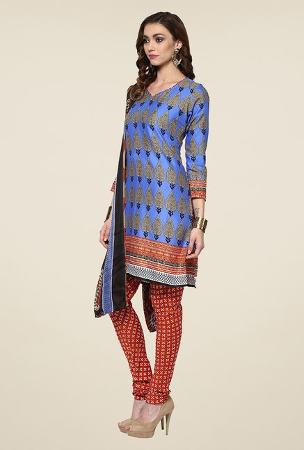Yepme Densy Blue & Orange Salwar Suit Set