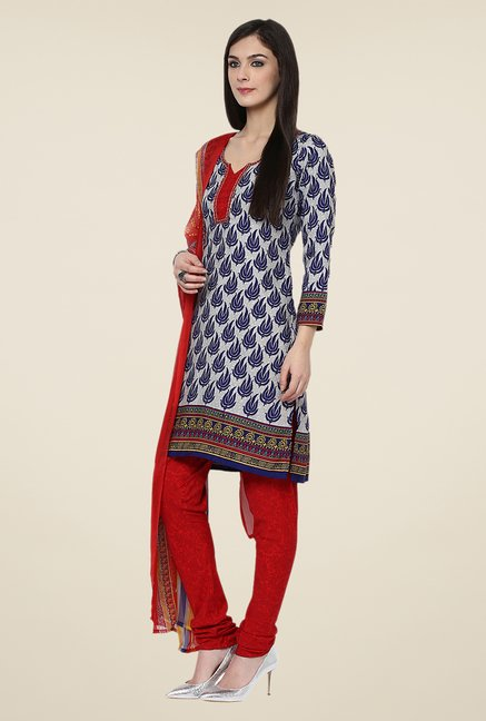 Yepme Densy Blue & Red Salwar Suit Set