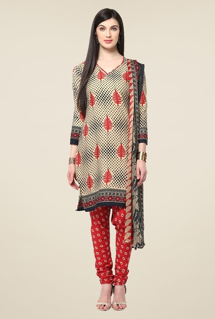Yepme Densy Beige & Red Salwar Suit Set