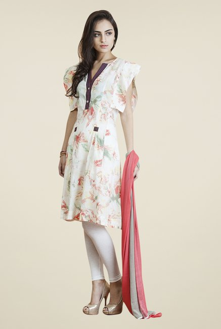 Yepme White & Peach Vellina Kurti Set