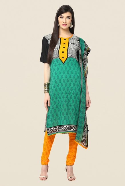 Yepme Green & Yellow Printed Keto Salwar Kameez Set