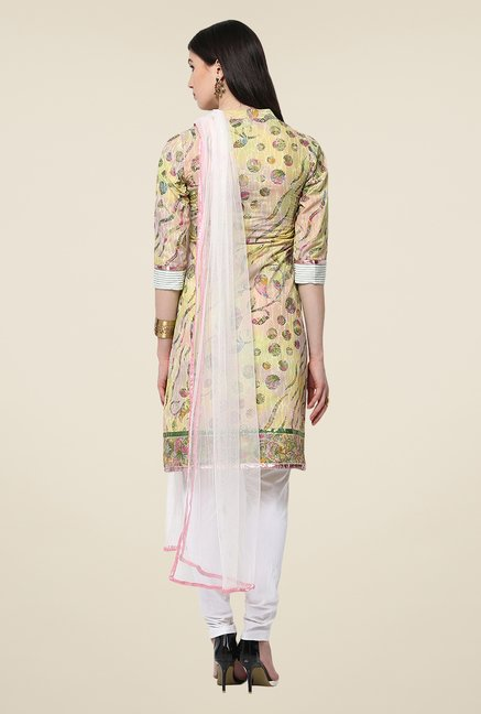 Yepme Yellow Printed Caphy Salwar Kameez Set