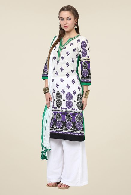 Yepme Off-white & Green Siena Salwar Kameez Set