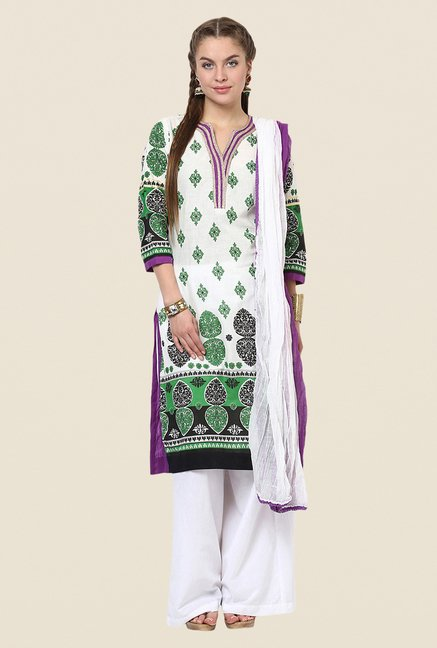 Yepme Off-white & Purple Siena Salwar Kameez Set