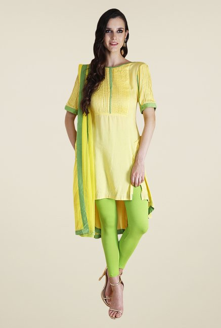 Yepme Yellow & Green Nevil Kurti Set