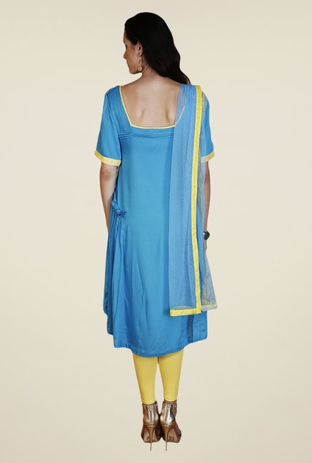 Yepme Blue & Yellow Nevil Kurti Set