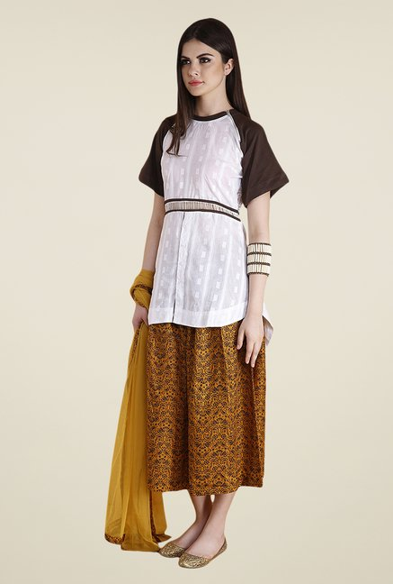 Yepme White & Yellow Natalie Kurti Set
