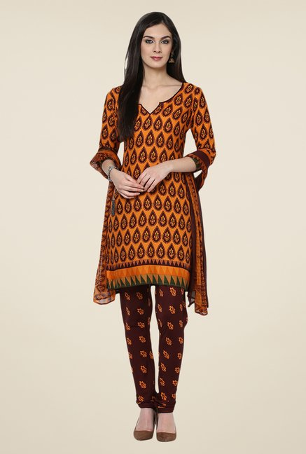 Yepme Densy Orange & Brown Salwar Suit Set