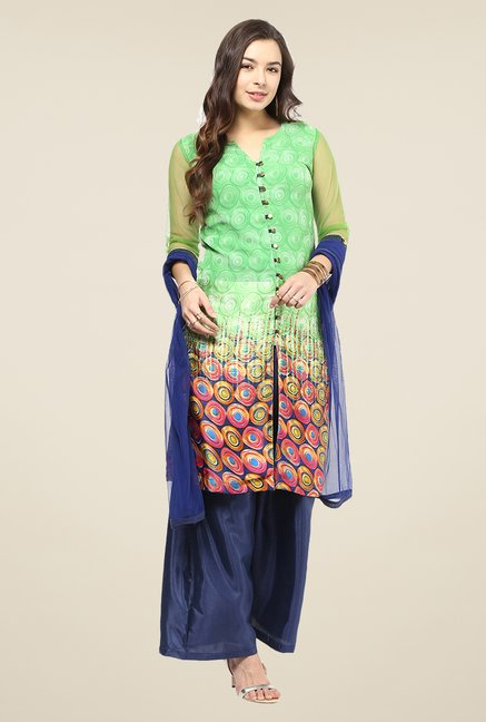 Yepme Flavia Green & Blue Salwar Suit Set
