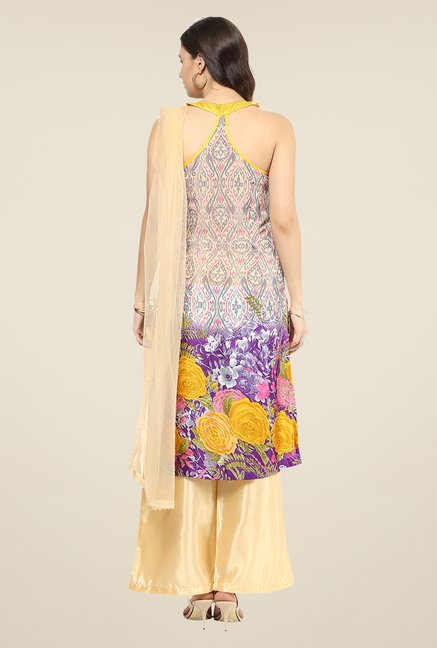 Yepme Yesenia Beige & Purple Salwar Suit Set