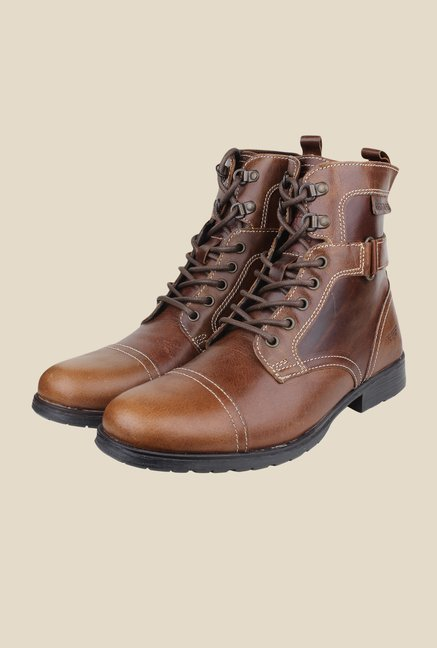 Red Tape Tan Biker Boots