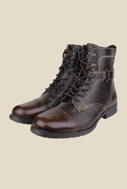 Red Tape Brown Biker Boots
