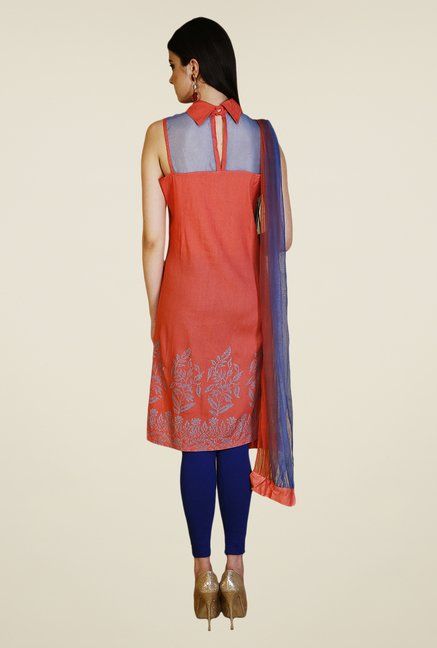 Yepme Red & Blue Shayna Kurti Set