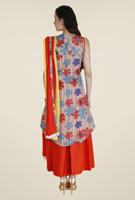 Yepme Blue & Orange Rini Kurti Set