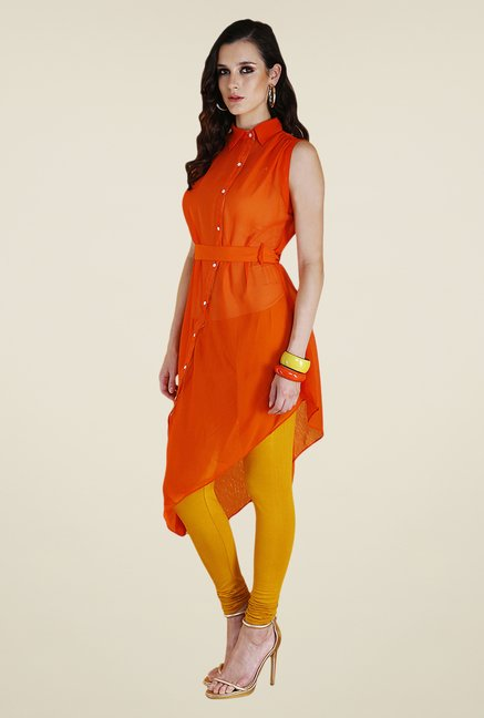 Yepme Orange & Mustard Febe Kurti Set