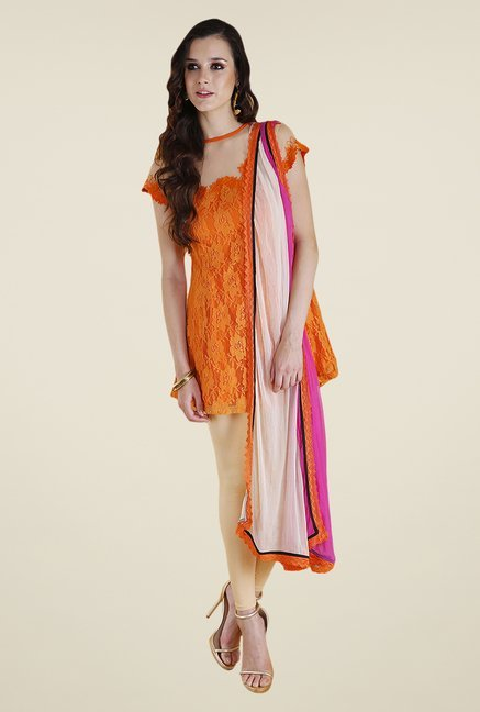 Yepme Orange & Beige Lacey Kurti Set