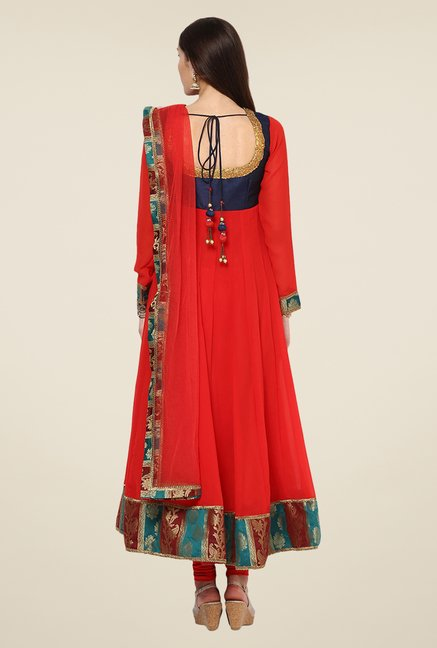 Yepme Navy & Red Zenzi Salwar Suit Set