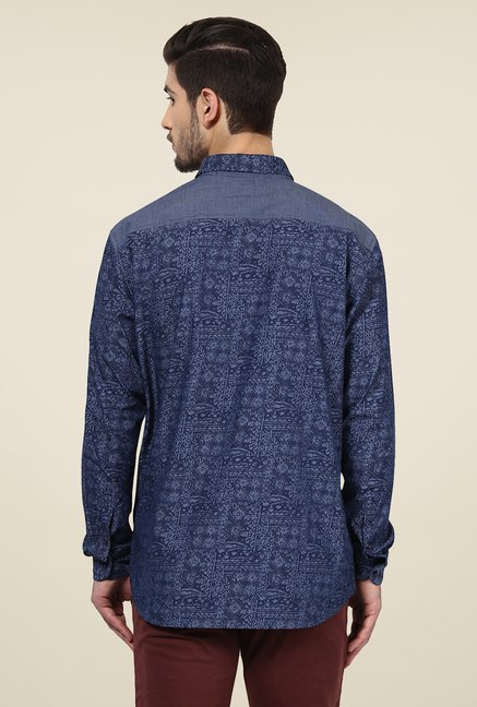 Yepme Dark Blue Warren Printed Party Shirt