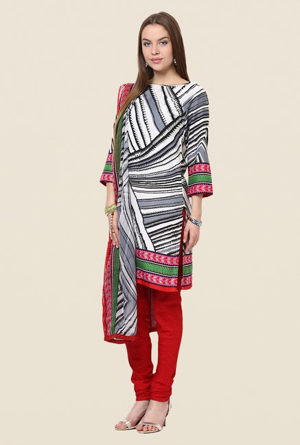 Yepme Grey & Red Priska Salwar Suit Set