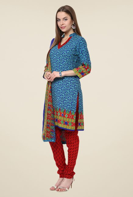 Yepme Blue & Red Priska Salwar Kameez Set