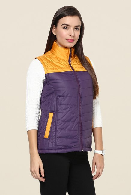 Yepme Purple & Mustard Carice Sleeveless Jacket