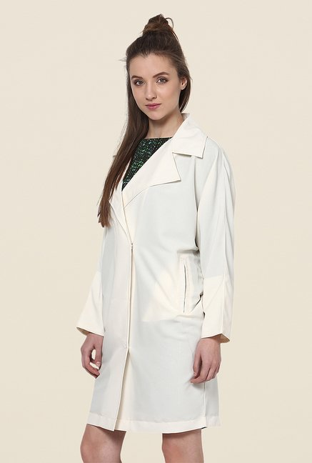 Yepme Ecru Cheryl Draped Jacket