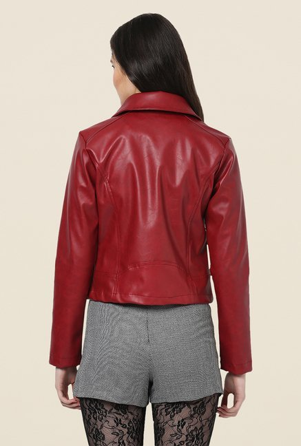 Yepme Maroon Hazel Leather Jacket