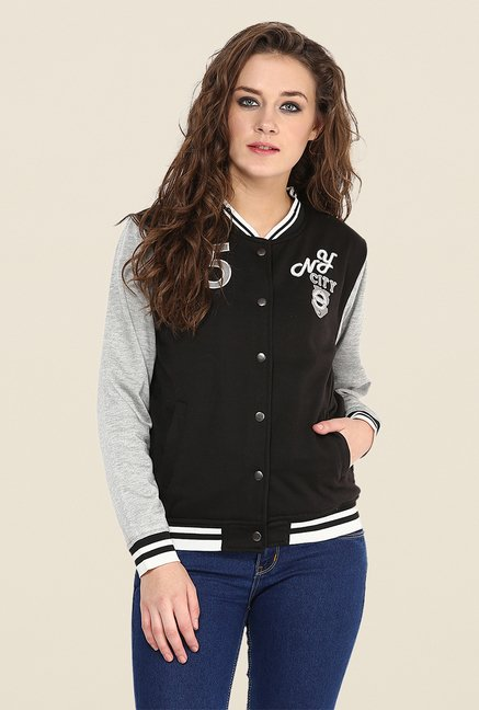 Yepme Black & Grey Elena Full-sleeved Jacket