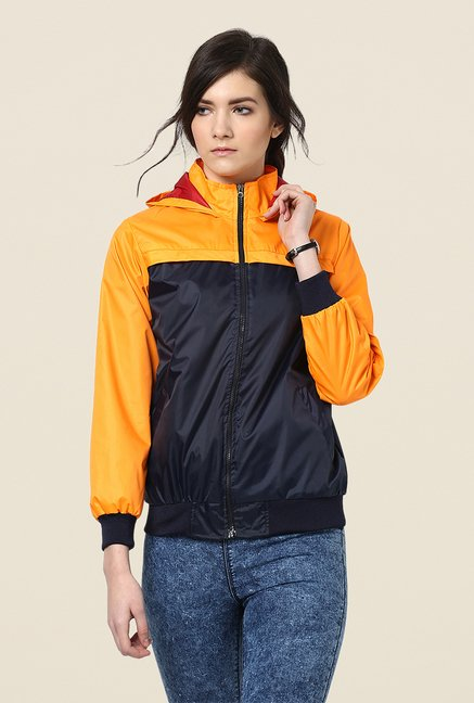 Yepme Navy & Orange Klara Full-sleeved Jacket